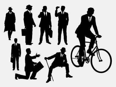 Businessman, male people at work activity silhouettes Illustration