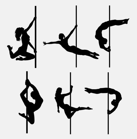 topless women: Pole dancer female silhouettes