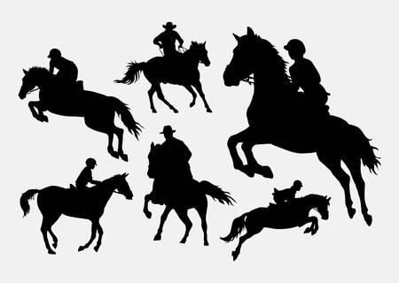 Mannelijke en vrouwelijke mensen rijden paard sport actie silhouetten Stockfoto - 45166590