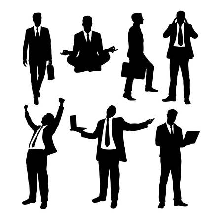 work popular: Businessman activity silhouettes