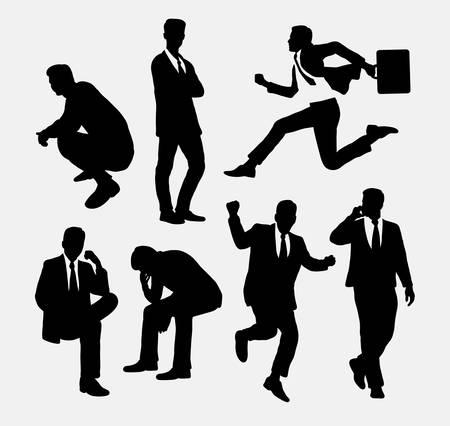 sentarse: Personas del hombre de negocios siluetas de acción
