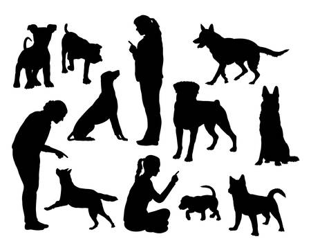 Dog training silhouettes Vectores