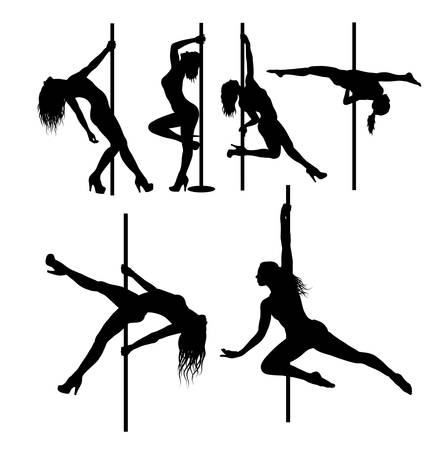 naked sexy women: Pole dancer sexy female silhouettes Illustration