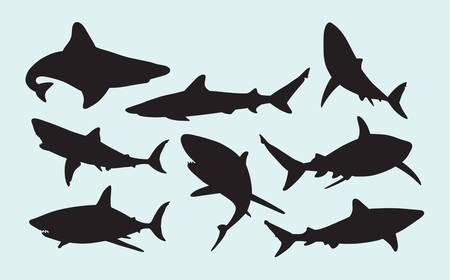 animal silhouettes: Shark wild animal silhouettes