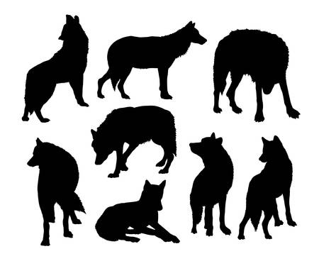 wolves: Wolf wild animal silhouettes Illustration