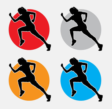 woman running: Running woman silhouette. Good use for symbol, web icon, or any design you want. Easy to use. Illustration