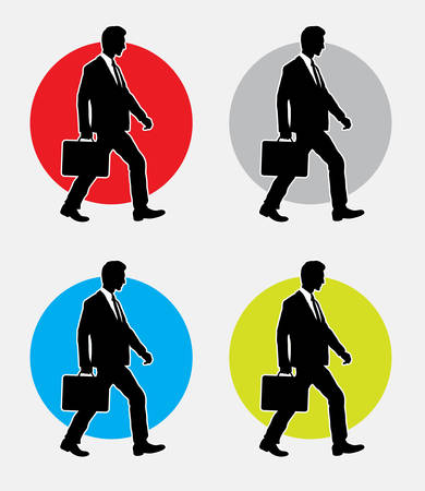 work popular: Walking businessman silhouette. Good use for symbol, web icon, or any design you want. Easy to use. Illustration