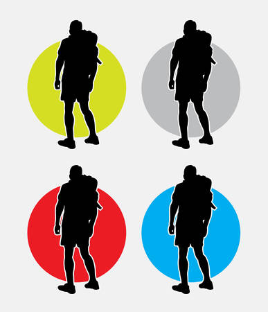 backpack: Hiker man pose silhouette. Good use for symbol, web icon, mascot, or any design you want. Easy to use
