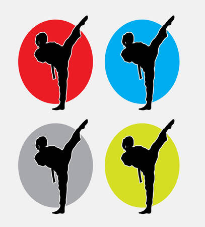 martial art: Female kick martial art sport. good use for symbol, web icon, or any design you want. Easy to use. Vectores