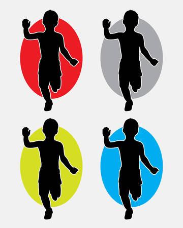 silueta niño: Niño corriendo y jugando silueta. Buen uso de símbolo, icono del Web, mascota, o cualquier diseño que desee. Fácil de usar. Vectores