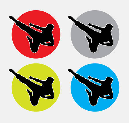 Man kicking, martial art silhouette. good use for symbol, web icon, mascot, or any design you want. Easy to use.