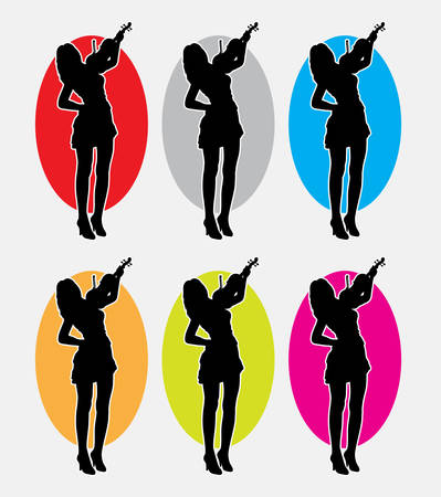 violinist: Violinist, female playing music instrument silhouette. Good use for symbol, web icon, mascot, or any design you want. Easy to use. Illustration