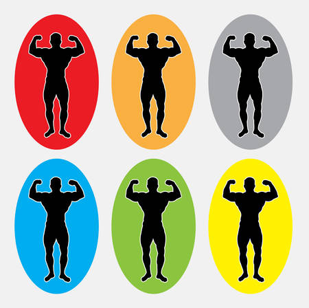 masculine: Muscle masculine man gymnastic sport silhouette. Good use for symbol, web icon, mascot, or any design you want. Easy to use. Illustration