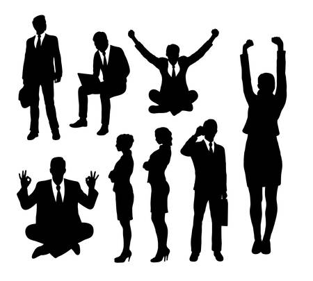 man using laptop: Businessman and businesswoman silhouettes. Good use for symbol, web icon, mascot, or any design you want.