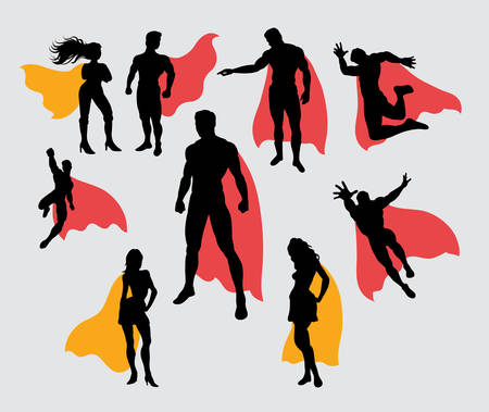 Superman and supergirl silhouettes