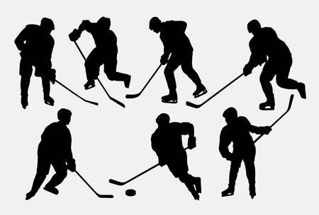 head shot: Hockey ice sport action silhouettes