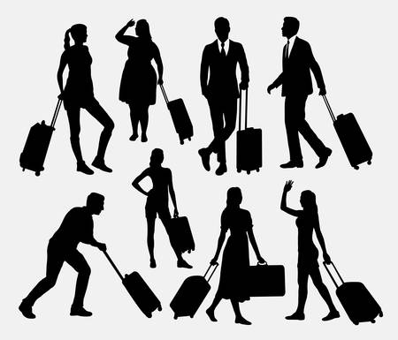 people traveling: People male and female traveling silhouettes