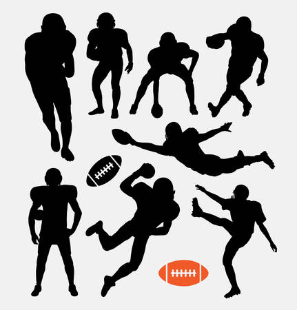 football player: American football player silhouettes Illustration
