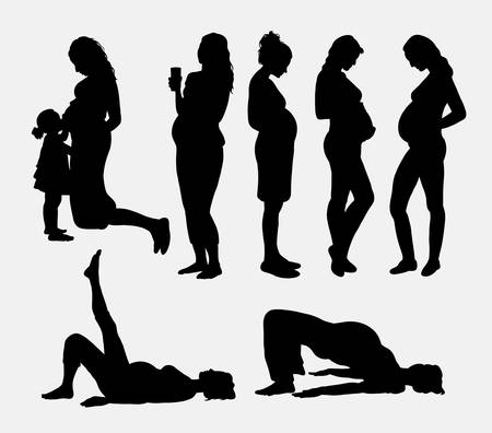 awaiting: Pregnant woman silhouettes