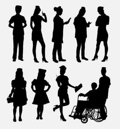 doctor female: Nurse female silhouettes Illustration