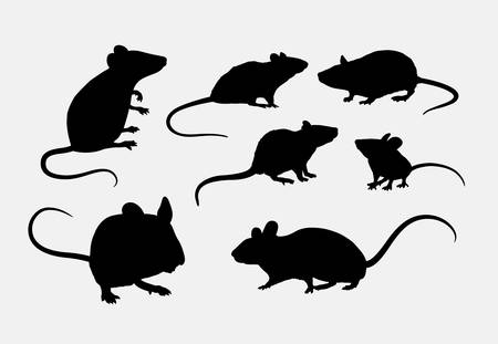 Rat and mice silhouettes Vettoriali