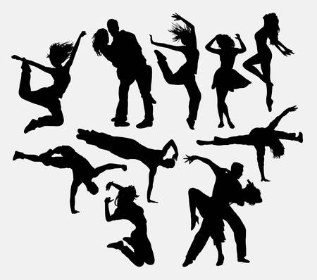 Dancing male, female and couple silhouettes. Good use for symbol, logo, web icons, or any design you want.