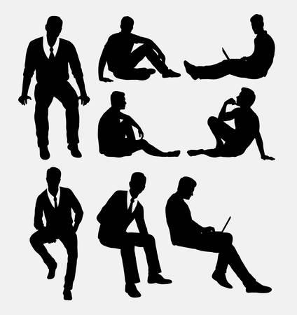 gente sentada: Hombre sentado siluetas