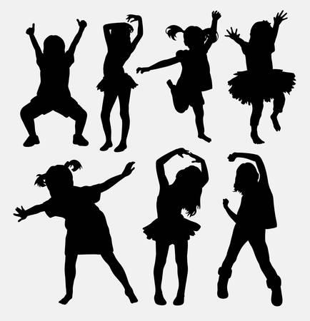 tänzerinnen: Kid, kleine Mädchen tanzen Silhouetten Illustration