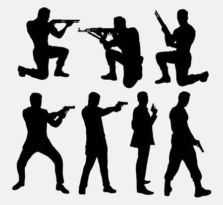 gun silhouette: Man with gun silhouettes Illustration
