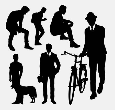 work popular: Man action silhouettes. Good use for symbol, logo, web icon, mascot, or any design you want.