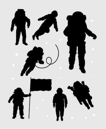 silhouettes: Astronaut silhouettes Illustration