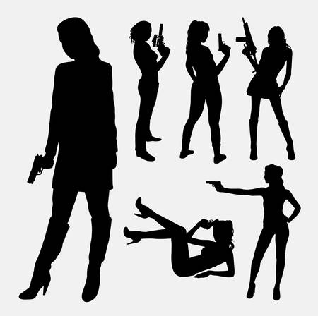 Female with gun silhouettes. Good use for symbol, logo, web icon, mascot, or any design you want. Easy to use.