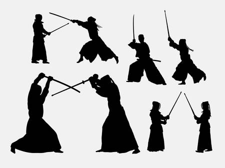 kendo: Kendo japanese sport silhouettes. Good use for symbol, logo, web icon, mascot, or any design you want. Easy to use. Illustration