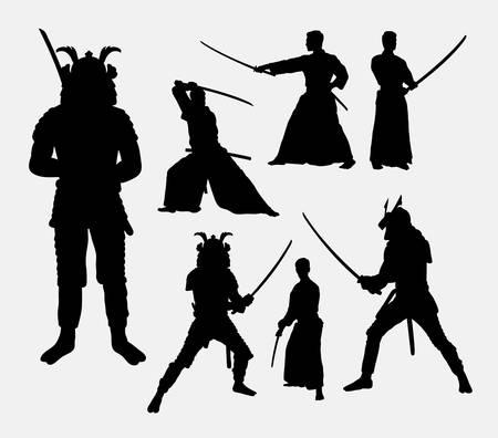 guerrero: Samurai, hombres japoneses guerreros siluetas
