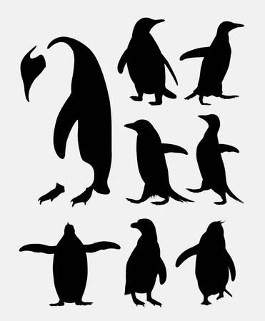 Penguin bird animal silhouettes Ilustracja