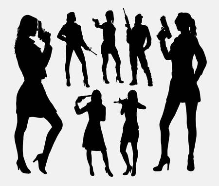 woman with gun: Girl with gun silhouettes