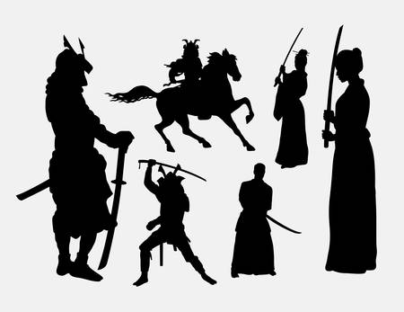 Samurai warrior male and female silhouettes