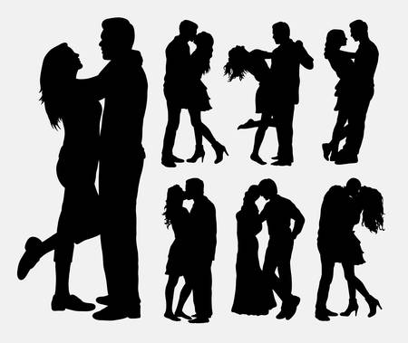 Couple loving people silhouettes Stock Illustratie