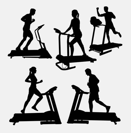 Treadmills sport activity silhouette. Good use for symbol, web icon, logo, game element, mascot, or any design you want. Easy to use.
