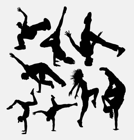 hip hop girl: Break dance performance silhouettes. Good use for symbol, logo, web icon, game element, mascot, or any design you want. Easy to use.