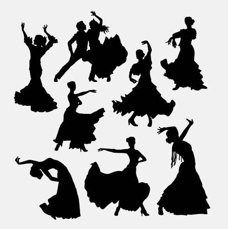 フラメンコ ダンサー。男性、女性、およびカップルのシルエットをダンスします。シンボル、ロゴ、web アイコン、ゲーム要素、マスコット、または
