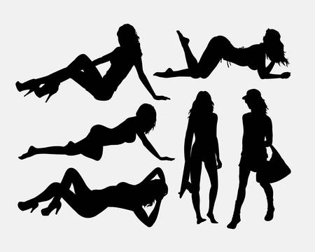 chica desnuda: Sexy girl holiday silhouettes. Good use for symbol, logo, web icon, game element, mascot, or any design you want. Easy to use.