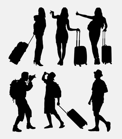Traveling tourist, male and female activity silhouette. Good use for symbol, logo, web icon, game elements, mascot, or any design you want. Easy to use. Zdjęcie Seryjne - 47852479
