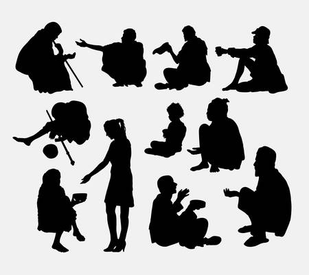 poverty: Male and female beggar silhouette. Good use for symbol, logo, web icon, game elements, mascot, or any design you want. Easy to use. Illustration