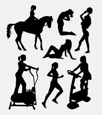 simbolo de la mujer: Mujeres deporte actividad silueta. Buen uso de símbolo, icono del Web, logotipo, elemento de juego, mascota, o cualquier diseño que desee. Fácil de usar.
