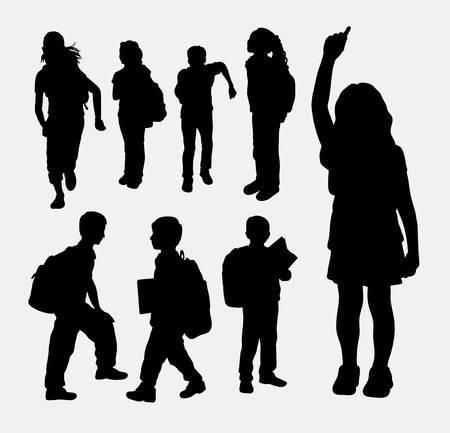 niño con mochila: Niña de la escuela y el niño de la escuela actividad silueta. Buen uso de símbolo, icono de la web, logotipo, elemento de juego, mascota, o cualquier diseño que desee. Fácil de usar. Vectores
