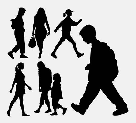 business people walking: Walking people action silhouette. Good use for symbol, web icon, logo, game element, mascot, or any design you want. Easy to use.