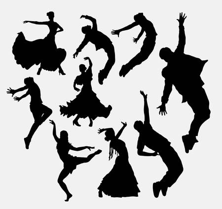 modern dancer: Cool dancer, male and female silhouette. Good use for symbol, web icon, logo, game element, mascot, or any design you want. Easy to use. Illustration