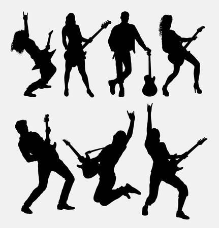ギタリストの男性と女性のシルエット。シンボル、web アイコン、ロゴ、ゲーム要素、マスコット、または任意のデザインの良い使用します。使いや  イラスト・ベクター素材