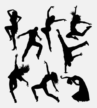 hiphop: Modern dance, male and female silhouette. Good use for symbol, web icon, logo, game element, mascot, or any design you want. Easy to use. Illustration